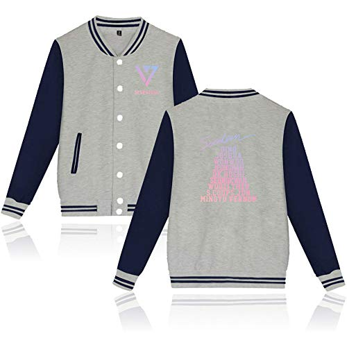 KPOP Seventeen Baseball Chaqueta Tops Imprimiendo Sudadera Jacket Outerwear Manga...