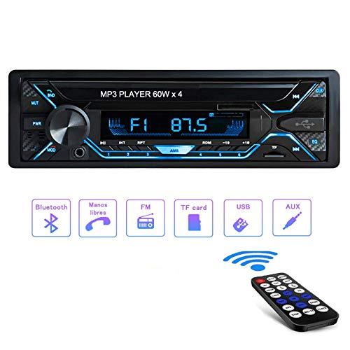 Radio Coche Bluetooth4.2, Tobetree4x60W Autoradio 1 DIN Bluetooth Control Remoto Manos Libres Estéreo de Coche, Soporte USB/AUX en FM/AM/MP3/WMA/WAV con Reloj, Función de Radio y de Archivo.