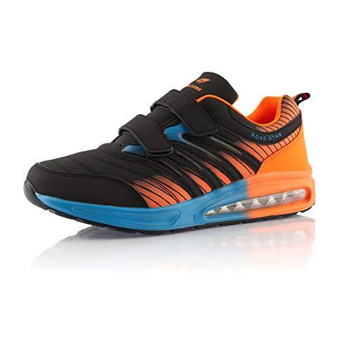 Fusskleidung® Damen Herren Laufschuhe Dämpfung Sportschuhe leichte Turnschuhe Schwarz Orange Blau EU 42