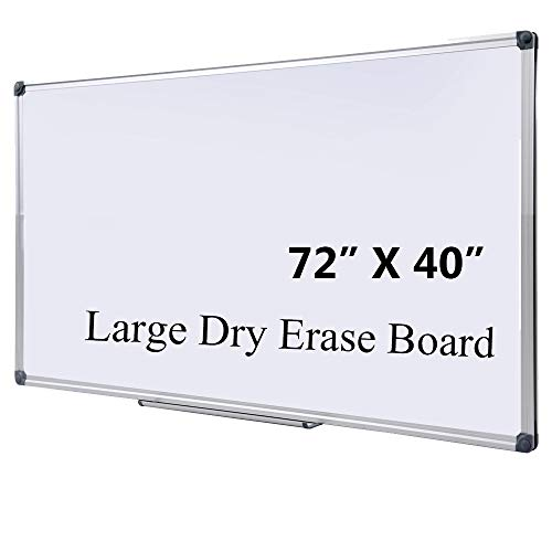 DexBoard Large 72 x 40-in Magnetic Dry Erase Board with Pen Tray| Wall-Mounted Aluminum Whiteboard Message Presentation Memo White Board for Office Home and School (72