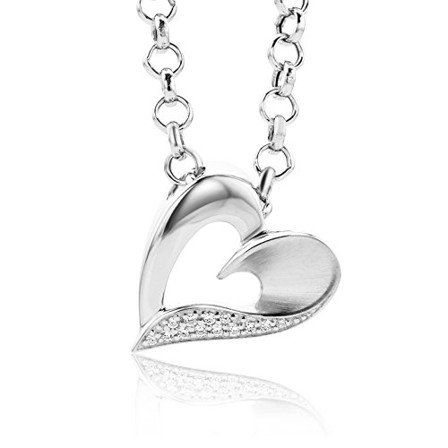 Miore Kette - Halskette Damen Kette Silberfarbig 925 Sterling Silber mit Herz  mit Rundschliff Zirkonia Steinchen 45 cm