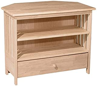 International Concepts Mission Corner TV Stand for TVs up to 40 Inch, Unfinished with 1 Drawer and 2 Shelves Made of Solid Parawood