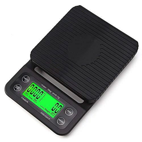 Báscula de pesaje digital de 0,1g 3 kg, temporizador de café electrónico, balanza de cocina, herramienta para hornear, cocina, balanza de peso