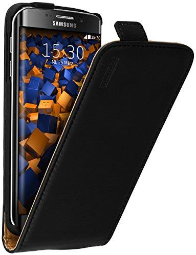 mumbi Echt Leder Flip Hülle kompatibel mit Samsung Galaxy S6 Edge Hülle Leder Tasche Hülle Wallet, schwarz