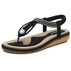 Black T-Strap Beaded Flat Sandals with Bohemian Rhinestones