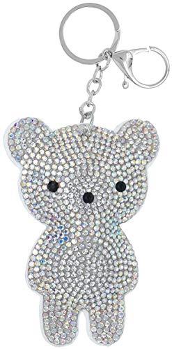 Schlüsselanhänger Teddy mit Glitzer-Steinen, Anhänger für Damen und Kinder, Taschenanhänger, Kofferanhänger
