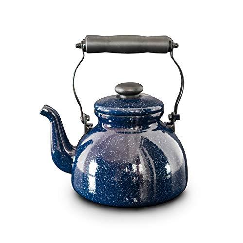 Bouilloire à gaz émaillée Star Pots à thé 2L Soft Touch Noir Facile à Manipuler Poignée pour Plaques de Cuisson Induction Gaz