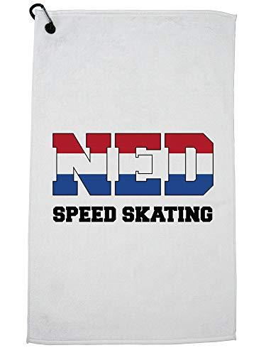 Hollywood Schaatsdraad Nederlands Schaatsen - Winter Olympisch - NED Vlag Golf Handdoek met Karabijnhaak Clip