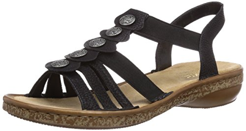 Rieker Damen Sandalen 62866, Frauen Riemchensandale, Woman Freizeit leger römer-Sandale Sandalette Gladiatoren-Sandale,schwarz / 00,42 EU / 8 UK