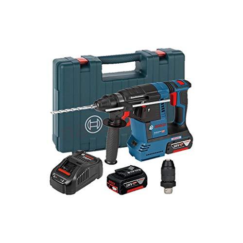 Bosch Professional 18V System Akku Bohrhammer GBH 18V-26 F (inkl. 2x6.0 Ah Akku, Schnellladegerät GAL 1880 CV, im Handwerkerkoffer)