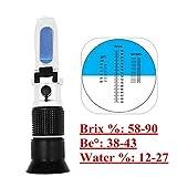 QYY Réfractomètre brix Refr Réfractomètre au Miel pour l'humidité du Miel, Brix et Baume,testeur...