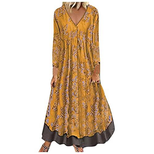 Vestido de lino de algodn vintage para mujer, manga media, estampado con cuello en V, falso vestido de dos piezas, amarillo, XXXXXL
