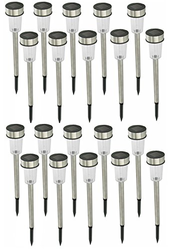 Set LED Solarleuchten aus Edelstahl - Solarleuchte Solarlampe Garten Außen (20)