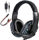 SOONHUA - Auriculares de diadema para Xbox One, PS4, micrófono, cancelación de ruido, micrófono para videojuegos, sonido envolvente, control de volumen, almohadillas de memoria suave
