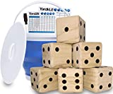 GETMOVIN SPORTS Giant Wooden Playing Dice Set with Roll Bucket and Scorecard, Outdoor Lawn Yard Game - Includes 6 Dice, Dry Erase Scorecard W/Marker, Roll Bucket, Carrying Bag (3.5' Dice)