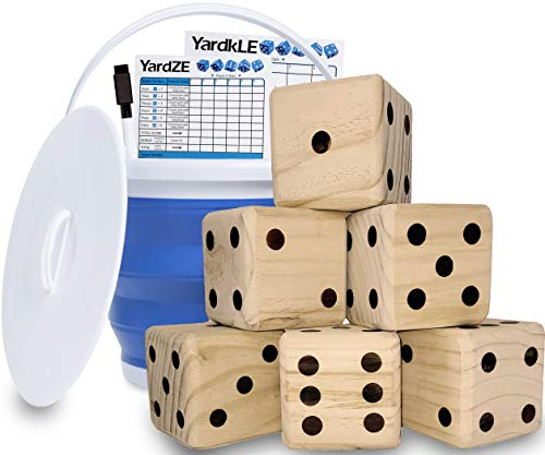 GETMOVIN SPORTS Giant Wooden Playing Dice Set with Roll Bucket and Scorecard, Outdoor Lawn Yard Game - Includes 6 Dice, Dry Erase Scorecard W Marker, Roll Bucket, Carrying Bag (3.5  Dice)