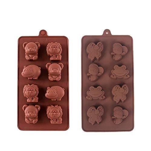 Kuchenform Backform Muffin-Backformen 2 Stück Bär, Löwe, Nilpferd und Schmetterlinge, Bienen, Frösche Antihaft-Schokoladen-Silikonformen, Süßigkeiten-Fondant-Gelee-Backformen, handgefertigte Kinder-Sp