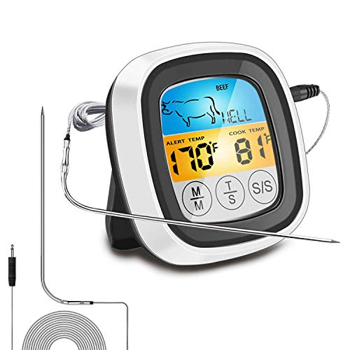 Berytta 2021 Digital Meat ThermometerInstant Read Touchscreen Food Thermometer 40in Probe Cooking Thermometer with Timer Mode and LCD Backlight for Grill Smoker BBQ Kitchen Oven