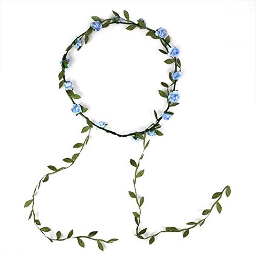 夏デモンストレーションアライアンスヘアバンド,SODIAL(R)女性のボヘミアスタイルの小柄フェスティバルウェディングガーランド額ヘアバンド - 青