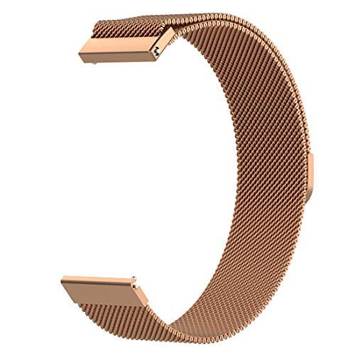 AWADUO Für Samsung Galaxy Watch 42 mm Edelstahl Ersatzband, 20 mm Ersatzarmband für Samsung Galaxy Watch 42 mm/Samsung Galaxy Watch Active 40 mm(Rose Golden)