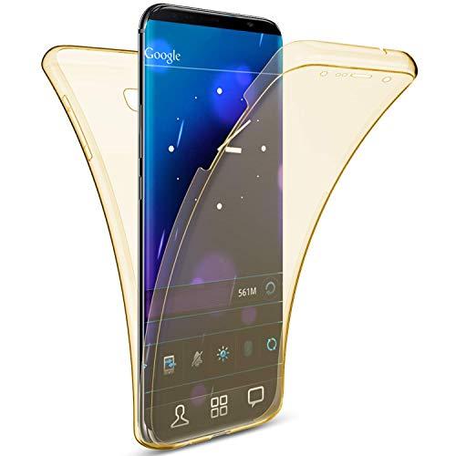 Uposao Kompatibel mit Samsung Galaxy A6 2018 Handytasche 360 Grad Schutzhülle Durchsichtige Silikon Tasche Komplettschutz Rundumschutz-Schale Vollschutz Hülle Weiche TPU Kirstall Klar Handyhülle,Gold