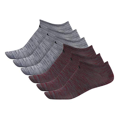 Adidas Superlite No Show Calzini (6 paia), Uomo, Fantasmini, Superlite No Show Socks (6-pair), Collegiate Borgogna - Onix Space Dye/Black Onix - Clea, Large