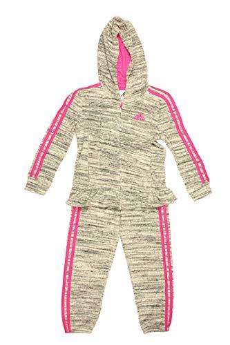 Adidas Mädchen Trikot Reißverschluss Jacke und Hose Set (6X, Lt Grey Heather/Magenta)