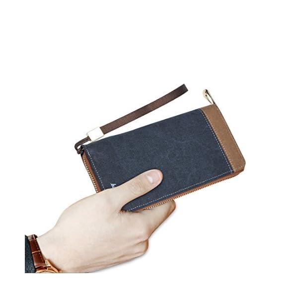 41tVbc5mNnL. SS600  - FANDARE New Billetera Hombre Two-Fold Zipper Viaje Estudiantes Party Comercio Gran Capacidad Wallet Transpirable Lienzo Azul