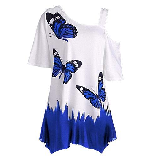 SLYZ été Femmes Nouveau Style Grande Taille Papillon Impression Numérique Une épaule Large Lâche T-Shirt Chemisier