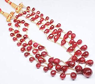"""Jewel Beads Natural Beautiful jewellery 5 Strand African Ruby Red Faceted Briolette Tear Drop Gemstone Loose Craft Beads Strand Necklace 9"""" Size-10-12mmCode:- BB-1857"""