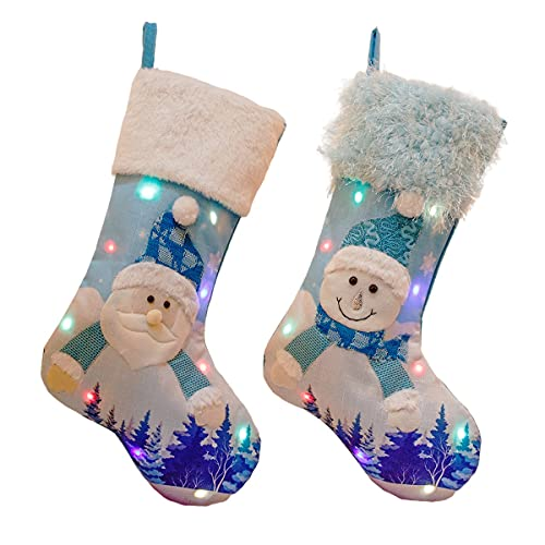 OIKJOKG Christmas Sparkly Socks With Snowman Santa Elk Bear Printing Xmas Candy Gift Bag Fireplace Xmas Tree Decoration New Year 2pcs (Color : A)
