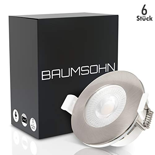 Baumsohn LED Einbaustrahler Bad IP44 6er Set flach 5W | Badeinbaustrahler 230v | LED Einbauleuchten | Spots Badezimmer | Deckenspots LED | Einbauspots ultraflach