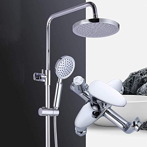 HYY-YY Conjunto de ducha hogar elevación caliente y fría ducha grifo de ducha latón 20 cm ronda superior spray sistema de ducha 3 modos suministro de agua