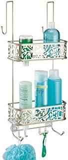 mDesign rangement de douche à suspendre à la porte de la douche – étagère de douche pratique – montage sans perçage – pani...