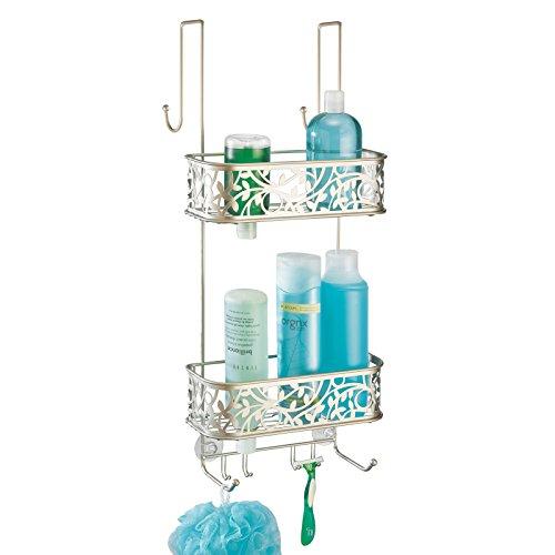 mDesign Duschablage zum Hängen über die Duschtür – verziertes Duschregal ohne Bohren aus Metall – 2 Duschkörbe zum Einhängen für Duschzubehör – silber