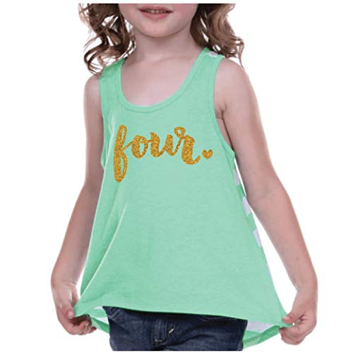 Bump and Beyond Designs 6th Birthday Outfit Girl 4th Birthday Tank Top Four Year Old Girl Green