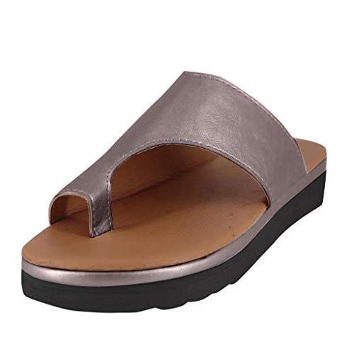 Yvelands Moda para Mujer Pisos Cuñas Zapatos Abiertos de Playa con Tobillo Zapatillas Romanas Sandalias(Marrón,42)