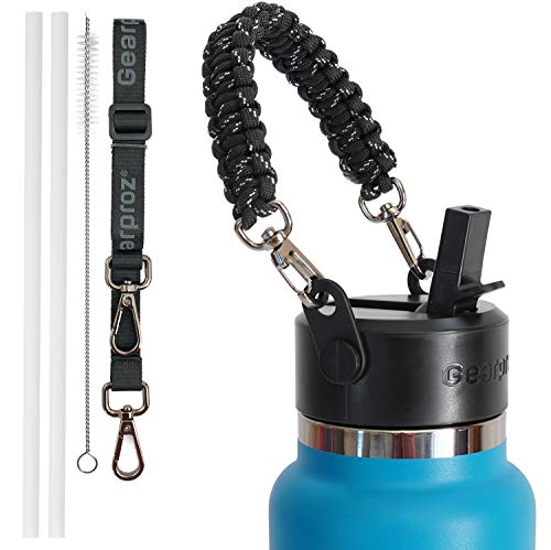 Gearproz Straw Lid for Hydro Flask - Paracord Handle, Shoulder Strap, 2 Straws and Cleaning Brush (6 pcs Total) for Wide Mouth HydroFlasks (Black)