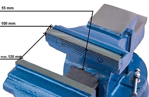 Robuster Schraubstock 100/125/150 mm für Werkbank 360° drehbar (Spannweite 125mm, Gewicht 7 Kg) - 4