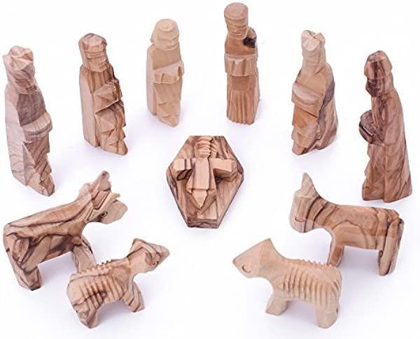 Zuluf Olive Wood Children S Nativity Set 3 Inches 12 Pieces Set