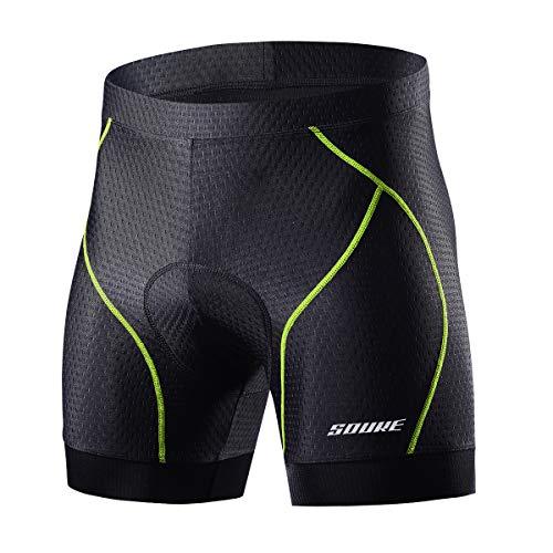 Souke Sports Herren Radunterhose Shorts 4D Gepolsterte Fahrrad MTB Liner Shorts mit Anti-Rutsch-Beingriffen (grün, groß)