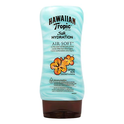 Hawaiian Tropic AfterSun Air Soft - Loción Hidratante Ultra Ligera para Después de la Exposición al Sol, Fragancia Coco y Papaya, 180 ml