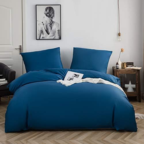 AYSW Baumwolle Bettwäsche 135x200 cm Denimblau 1 Bettbezug mit 1 Kopfkissenbezug 80x80 cm