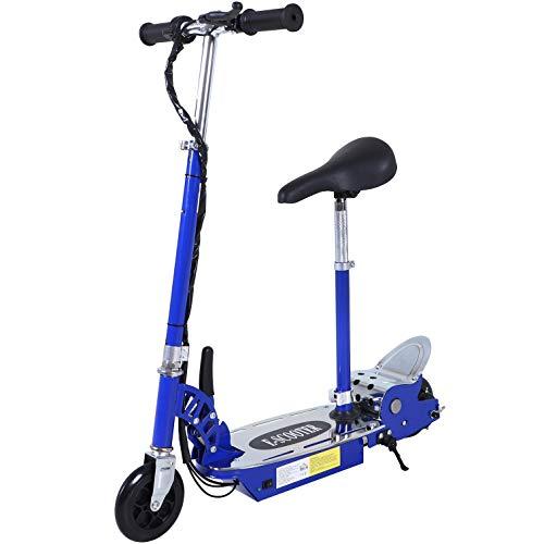 HOMCOM Patinete Eléctrico Niño Scooter Plegable con Manillar y Asiento Ajustable Tipo Monopatín con Freno y Caballete 120W Carga 50kg 81.5x37x96cm Color Negro (Azul)