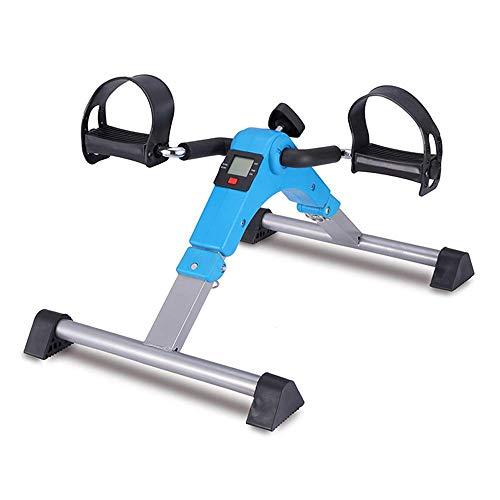 BXU-BG Dispositivo de Entrenamiento de rehabilitación de Mini piernas de Bicicleta Plegable con Resistencia Ajustable con Pantalla Digital, Azul