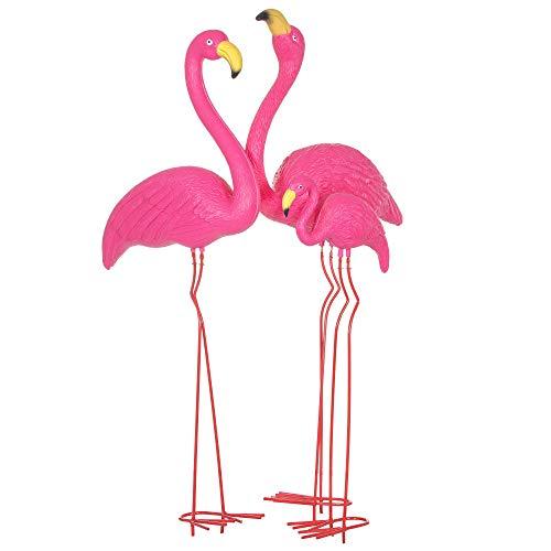 SPRINGOS - Figura decorativa para jardín (2/3), diseño de flamencos, color rosa, Color rosa, 3 unidades.