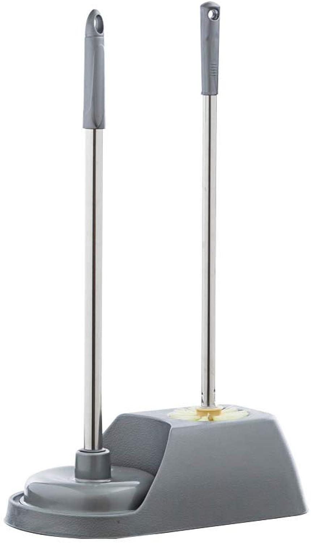 HUIFANG Toilet Brush Set 3 Piece Set Cleaning Brush Toilet Plug With Base Plastic Long Handle Hard Brush