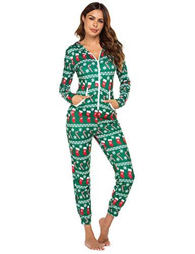 Ekouaer Onesies Thermal Underwears Christmas Union Jumpsuit One Piece Base Layers Hooded Sweatshirt Sleepwear for Women