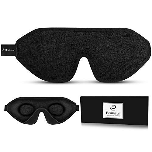 Boniesun 100% verdunkelnde Schlafmaske für Frauen & Herren, lichtblockierende Schlafmaske, Augenmaske zum Schlafen, Weiches und bequemes Lycra-Gewebe, 3D Schalen-Augenbinde für vollständige Dunkelheit