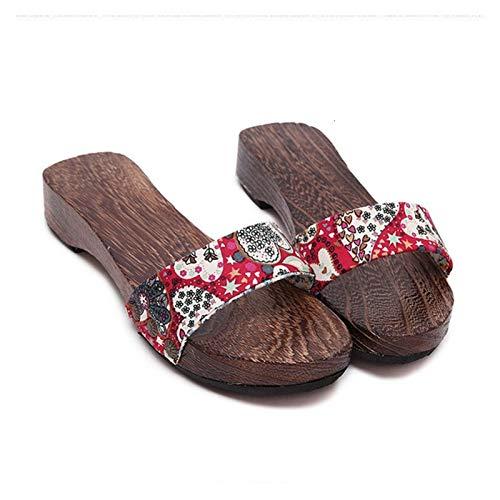 DSJTCH Mujer Estilo Chino Zapatos de Madera Tradicional Japonesa Geta Zuecos Chancletas de Pantuflas Anime Cosplay Kimono Sauna Sandalias (Color : Color1, Shoes Size : 39)